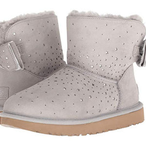 UGG STARGIRL MINI BOW II SPARKLE BOOTS NEW! GRAY